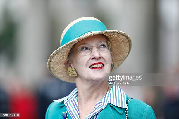 Queen Margrethe II of Denmark smiles during a visit to Brandenburg Gate on September 10 2014 in Berlin Germany Queen Margrethe is in Berlin on a...