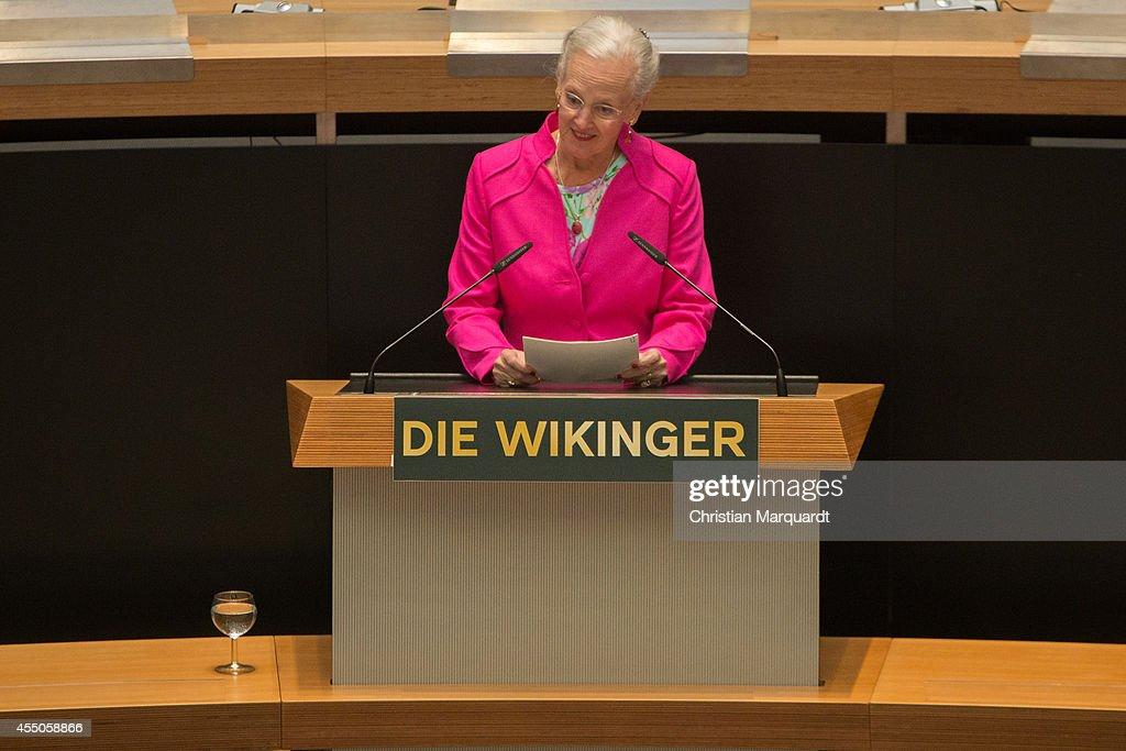 Queen Margrethe II of Denmark speaks ahead of 'Die Wikinger' exhibition opening at Martin-Gropius-Bau on September 9, 2014 in Berlin, Germany.