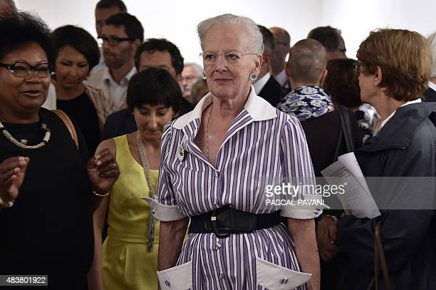 Queen Margrethe II of Denmark visits an art exhibition by the Prince Consort entitled 'Pour lamour du Groenland' at the 'Grenier du Chapitre' in...