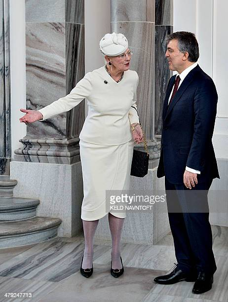 Queen Margrethe II of Denmark welcomes Turkish president Abdullah Gul on March 17 2014 at the royal castle Amalienborg AFP PHOTO / Scanpix Denmark /...