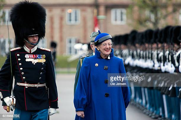 Queen Margrethe inspects the The Royal Life Guard at their barracks in Copenhagen Denmark on November 16 2016 The occasion for the parade and the...