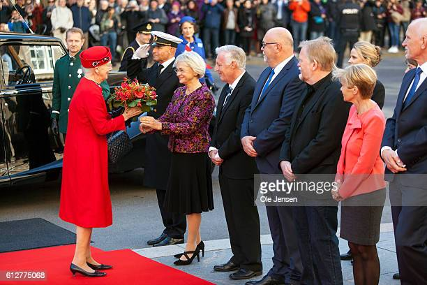 Queen Margrethe is greeted by the Presidium for the Parliament where they and the rest of the Royal family will attend the opening of the Parliament...
