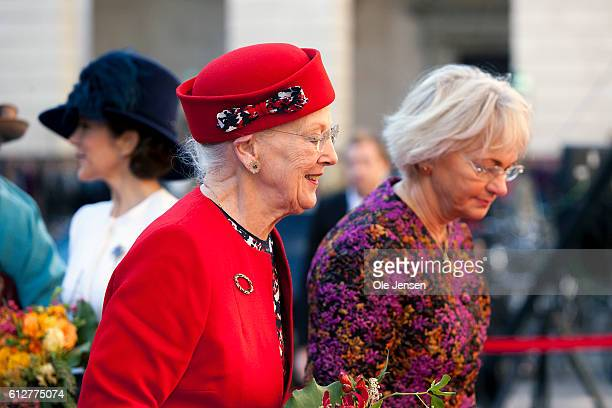 Queen Margrethe is let into the Parliament by Speaker of the House Pia Kjaersgaard where the Queen and the rest of the Royal family will attend the...
