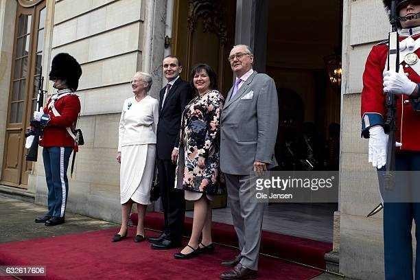 Queen Margrethe of Denmark and Icelandic President Gudni Thorlacius Johannesson together with wife Eliza Jean Reid and Prince Henrik pose together at...