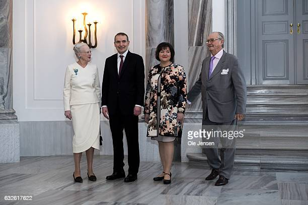 Queen Margrethe of Denmark and Icelandic President Gudni Thorlacius Johannesson together with wife Eliza Jean Reid and Prince Henrik poses together...