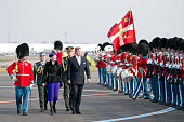 Queen Margrethe of Denmark and King Willem Alexander of the Netherlands inspect The Guard of Honour on arrival at Copenhagen Airport at the start of...