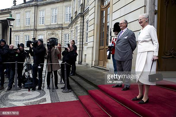 Queen Margrethe of Denmark and Prince Henrik await the arrival of Icelandic President Gudni Thorlacius Johannesson and wife Eliza Jean Reid at...