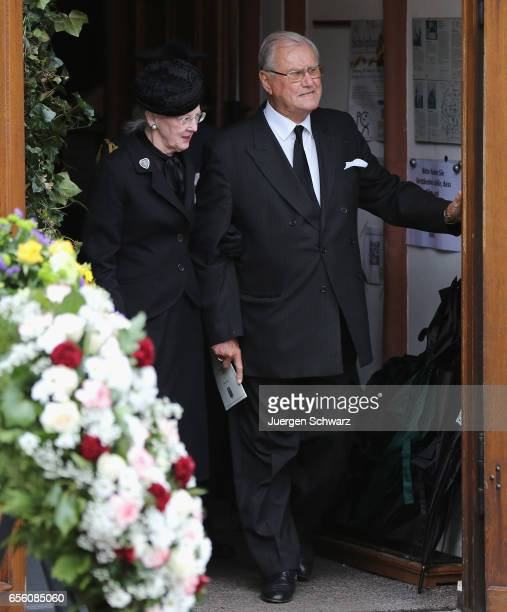 Queen Margrethe of Denmark and Prince Henrik leave the funeral service for the deceased Prince Richard of SaynWittgensteinBerleburg at the...