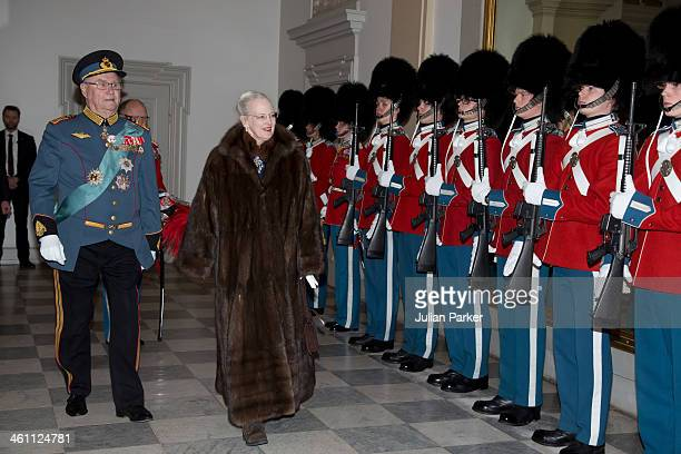 Queen Margrethe of Denmark and Prince Henrik of Denmark attend a New Year's Levee held by Queen Margrethe of Denmark for officers from the Defence...