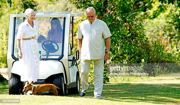 Queen Margrethe of Denmark and Prince Henrik of Denmark attend the annual summer photo call for the Royal Danish family at Grasten Castle on July 24...