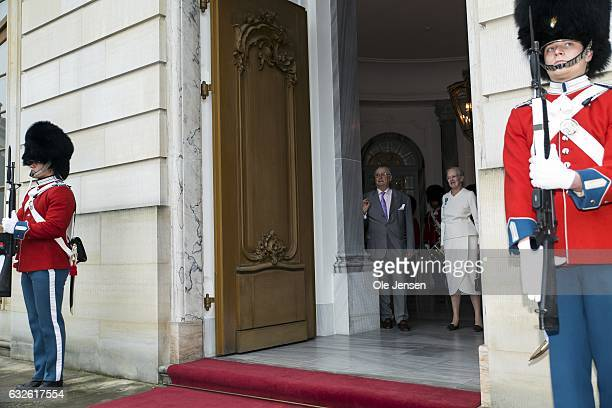 Queen Margrethe of Denmark and Prince Henrik waits for Iceland's Presidential couple to arrive at Christian VII Palace at Amalienborg on January 24...