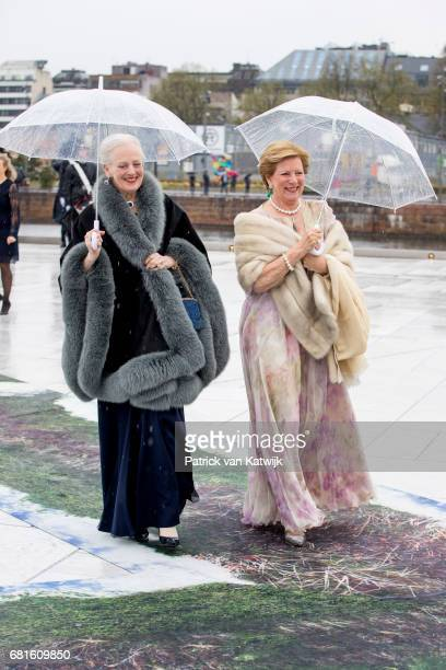 Queen Margrethe of Denmark and Queen Anne Marie of Greece arrive at the Opera House on the ocassion of the celebration of King Harald and Queen Sonja...