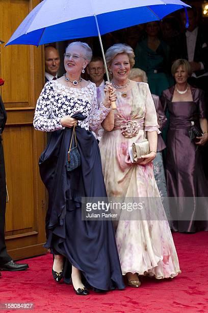 Queen Margrethe Of Denmark And Queen Anne Marie Of Greece Attend The Wedding Of Princess Nathalie Of SaynWittgenstein Berleburg To Alexander...