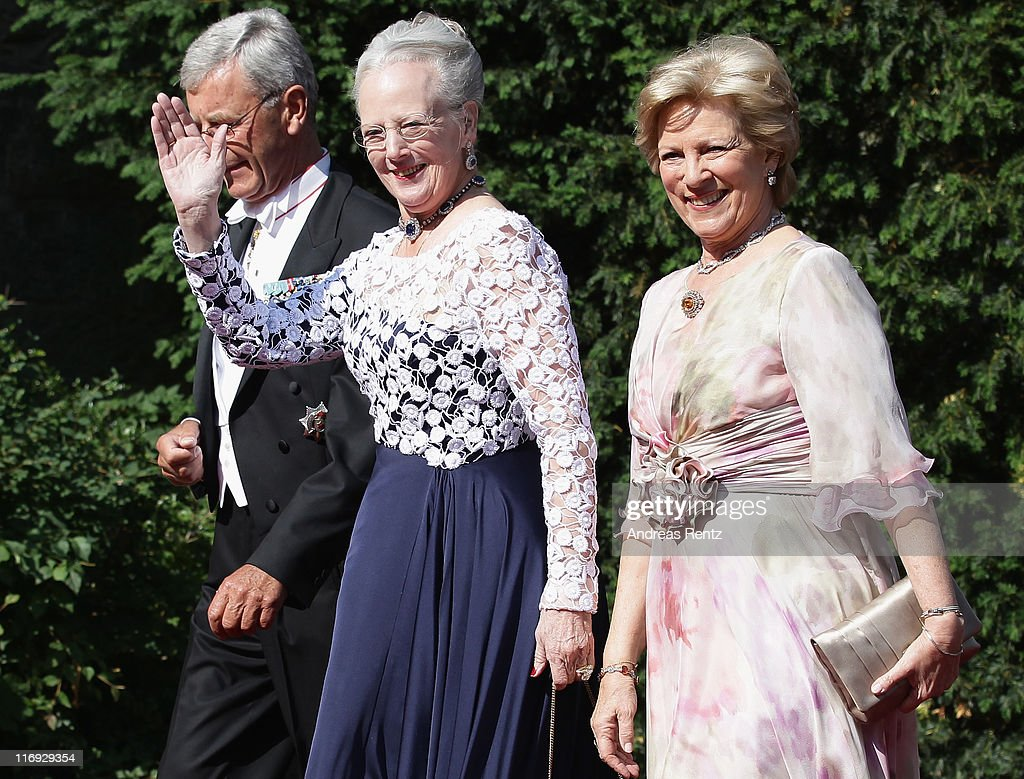 Queen Margrethe of Denmark and Queen AnneMarie of Greece arrive for the wedding of Princess Nathalie zu SaynWittgensteinBerleburg and Alexander...