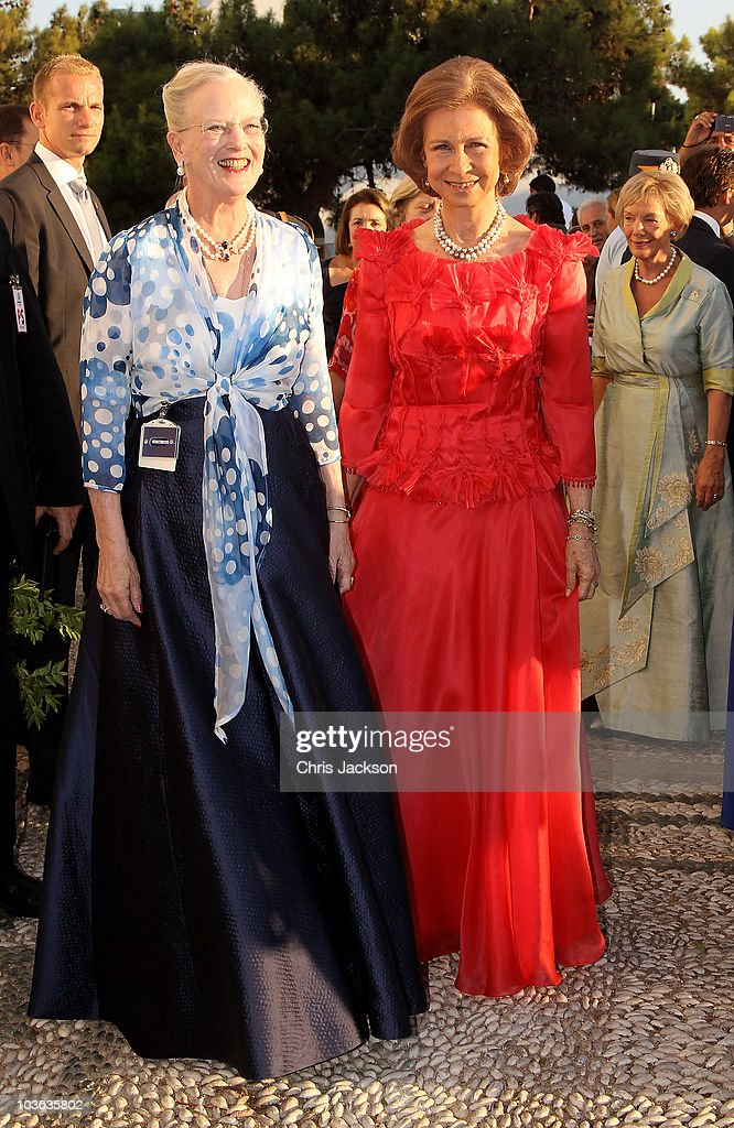 Queen Margrethe of Denmark and Queen Sofia of Spain arrives for the wedding of Prince Nikolaos and Miss Tatiana Blatnik at the Cathedral of Ayios...