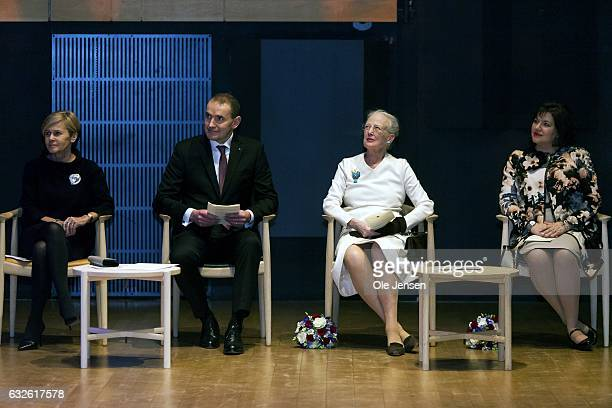 Queen Margrethe of Denmark and the Icelandic President Gudni Thorlacius Johannesson and his wife Eliza Jean Reid and Mette Bock during the ceremony...