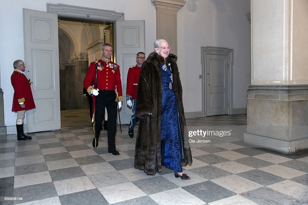 Queen Margrethe of Denmark arrive to the New Year's reception reception at Christiansborg - the parliament building - which she holds for the foreign diplomatic corps on January 3, 2017 in Copenhagen, Denmark.