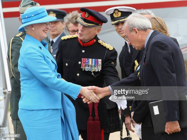 Queen Margrethe of Denmark arrives at Biggin Hill Airport for a private visit to the UK on September 20 2011 in Bromley England The Queen arrived on...