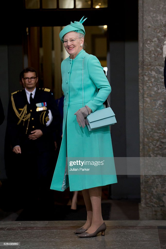 Queen Margrethe of Denmark arrives for the Te Deum Thanksgiving Service, at The Royal Palace, Stockholm, on the occasion of King Carl Gustaf of Sweden's 70th Birthday,on April 30, 2016, in Stockholm, Sweden.