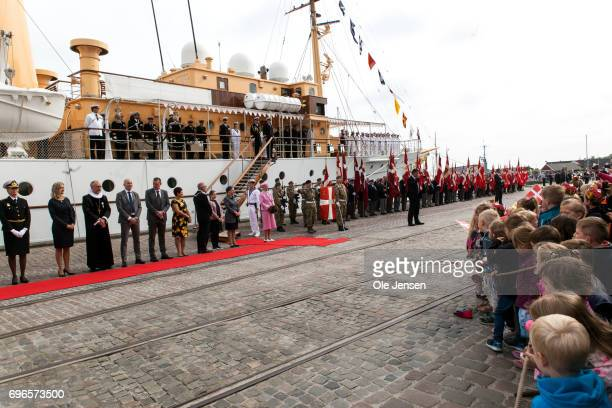 Queen Margrethe of Denmark arrives onboard the Royal ship Dannebrog for a twoday trip along the Mariager Fjord on June 15 2017 in Hobro Denmark The...