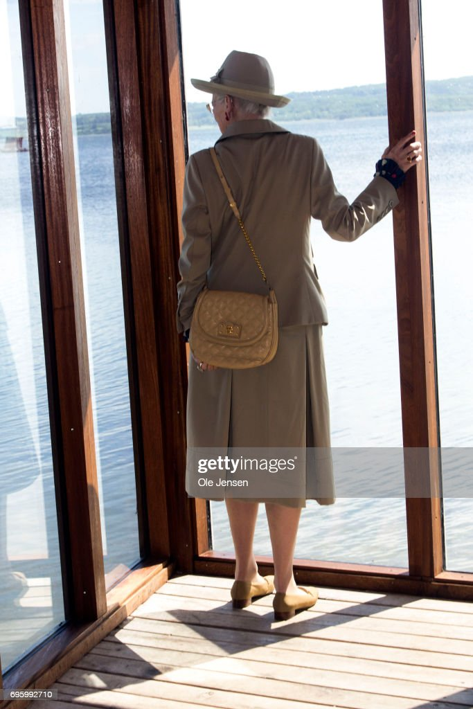 Queen Margrethe of Denmark at the windows at a bird watchingshed in a nature reserve at Tissoe during her visit on June 14, 2017 in Kalundborg, Denmark. Queen Margrethe is on a two days visit to Kalundborg. The Queen arrived to the Danish harbour city on board the Royalship Dannebrog and continue the trip to Mariaager for another two days visit wich begins June 15.