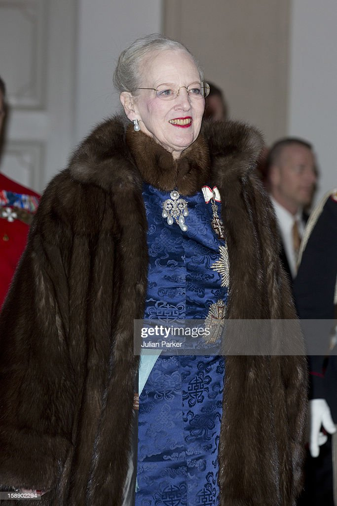 Queen Margrethe of Denmark attends a New Year's Levee held by Queen Margrethe of Denmark for Diplomats, at Christiansborg Palace on January 3, 2013 in Copenhagen, Denmark. (Photo by Julian Parker/UK Press via Getty Images)s)