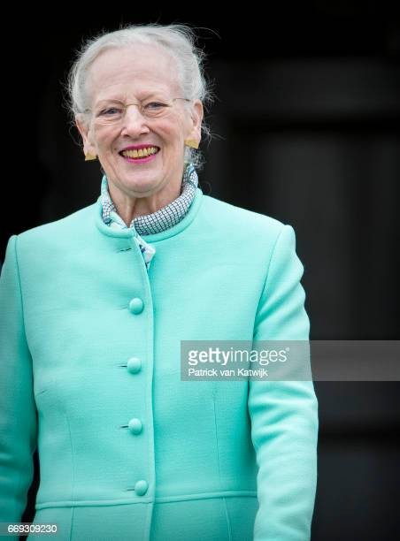 Queen Margrethe of Denmark attends her 77th birthday celebrations at Marselisborg Palace on April 16 2017 in Aarhus Denmark