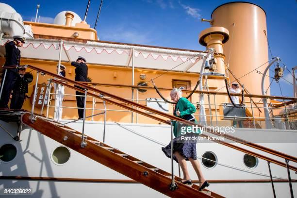 Queen Margrethe of Denmark attends the 18th birthday celebration of Prince Nikolai at royal ship Dannebrog on August 28 2017 in Copenhagen Denmark
