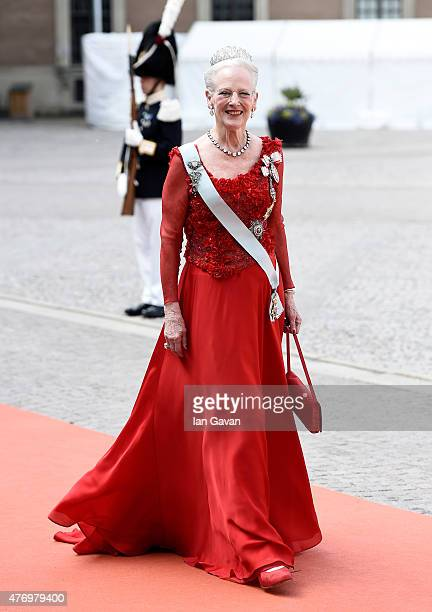 Queen Margrethe of Denmark attends the royal wedding of Prince Carl Philip of Sweden and Sofia Hellqvist at The Royal Palace on June 13 2015 in...