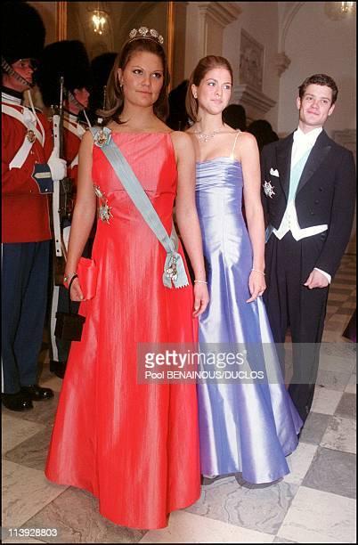 Queen Margrethe Of Denmark Celebrates 60Th Birthday Evening Gala At The Christianborg Palace In Copenhagen Denmark On April 16 2000Victoria Madeleine...