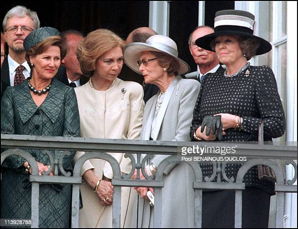 Queen Margrethe Of Denmark Celebrates 60Th Birthday In Copenhagen Denmark On April 15 2000Sonja of Norway Sofia of Spain Great Duchess of Luxemburg...
