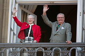 Queen Margrethe of Denmark celebrates her 73rd Birthday with Prince Henrik on the Balcony of Amalienborg Palace on April 16 2013 in Copenhagen Denmark