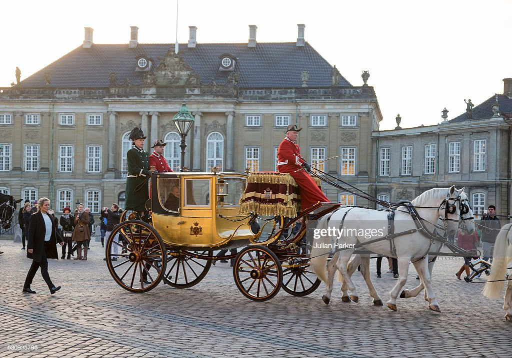 Queen Margrethe of Denmark departs Amalienborg Palace in the Gold Coach to attend a New Year's Levee for officers from the Defence and Danish Emergency management agency, and representatives from large national organisations at Christiansborg Palace on January 4, 2017 in Copenhagen, Denmark.