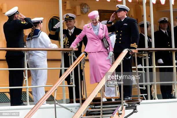 Queen Margrethe of Denmark disembark the Royal ship Dannebrog on June 15 2017 in Hobro Denmark The Queen is on a twoday visit along Mariager Fjord...