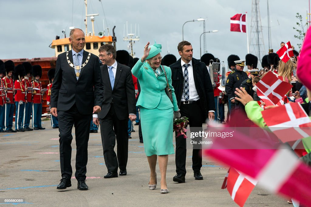 Queen Margrethe of Denmark is greeted by spectators upon her arrival onboard the Royal ship Dannebrog to Kalundborg harbour where she commence a two days visit on June 13, 2017 in Kalundborg, Denmark. During her stay the Queen will visit many public instituions and private entreprises in Kalundborg, which is a city in western Zealand. After this the Royal ship bring her to Mariager in eastern Jutland for another two days visit.