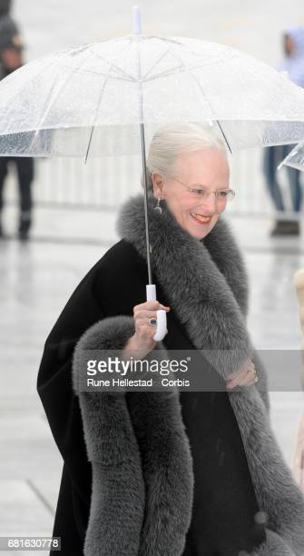 Queen Margrethe of Denmark is seen arriving at the Opera House on the occasion of the celebration of King Harald and Queen Sonja of Norway 80th...