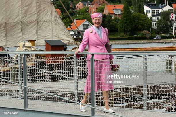 Queen Margrethe of Denmark on a footbridge at the Maritime Museum and Historical Shipyard during her visit on June 15 2017 in Hobro Denmark The Queen...
