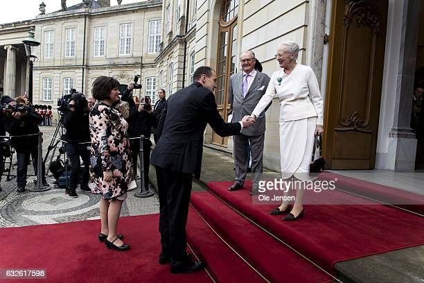 Queen Margrethe of Denmark receives Icelandic President Gudni Thorlacius Johannesson and wife Eliza Jean Reid at Christian VII Palace at Amalienborg...
