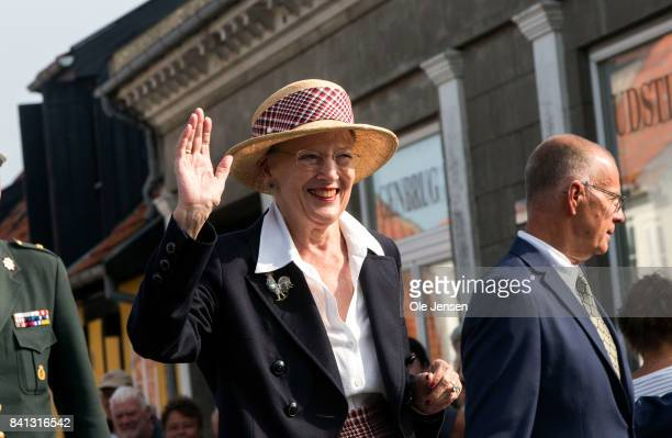 Queen Margrethe of Denmark seen during her second day visit to the island of Bornholm in the Baltic Sea on August 31 2017 in Svaneke Denmark The...