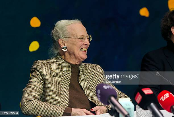 Queen Margrethe of Denmark speaks at the press conference during rehearsals of the new set up of Tchaikovsky's The Nutcracker in Tivoli for which the...