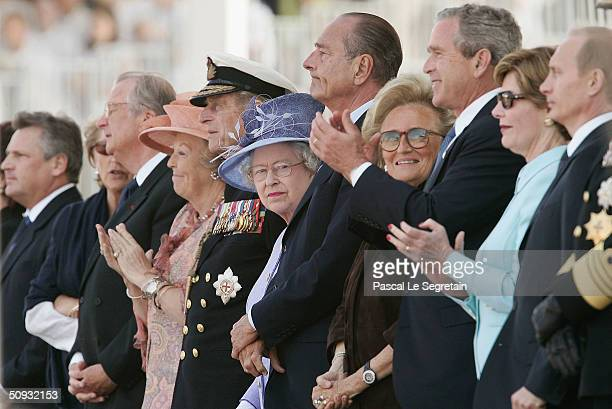 Queen Margrethe of Denmark the Duke of Edinbrough Queen Elizabeth II French President Jacques Chirac Bernadette Chirac US President George W Bush...
