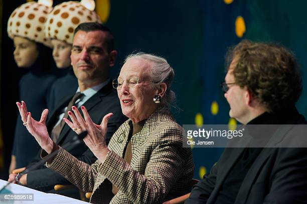Queen Margrethe of Denmark together with Peter Bo Bendixen and conductor Henrik Vagn Christensen holds a press conference during rehearsal of the new...