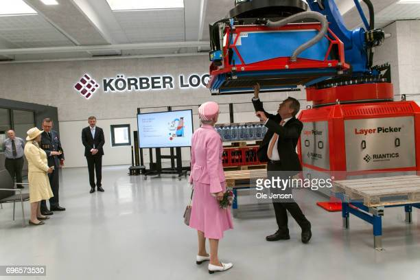 Queen Margrethe of Denmark visits the company Riantics which presents a newkly developed layr picker for the Queen during her visit on June 15 2017...