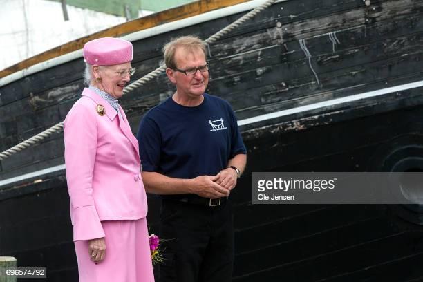 Queen Margrethe of Denmark visits the Maritime Culture Center and Historical Shipyard during her visit on June 15 2017 in Hobro Denmark Peter Leth...