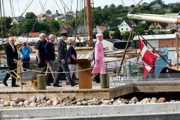 Queen Margrethe of Denmark visits the Martitime Culture Center during her visit on June 15 2017 in Hobro Denmark Queen Margrethe was on a twoday...