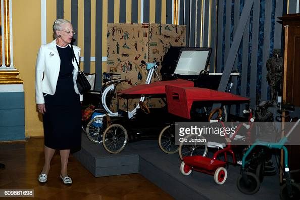 Queen Margrethe of Denmark visits the new exhibition at King Christian the VIII palace which puts 300 years of family and house hold objects on...