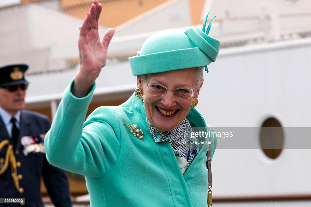 Queen Margrethe of Denmark waves to spectators during her arrival onboard the Royal ship Dannebrog to Kalundborg harbour where she commence a two days visit on June 13, 2017 in Kalundborg, Denmark. During her stay the Queen will visit many public instituions and private entreprises in Kalundborg, which is a city in western Zealand. After this the Royal ship bring her to Mariager in eastern Jutland for another two days visit.