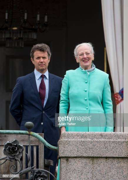Queen Margrethe of Denmark with her son Crown Prince Frederik of Denmark celebrate Queen Margrethe of Denmark's 77th Birthday at Marselisborg Palace...
