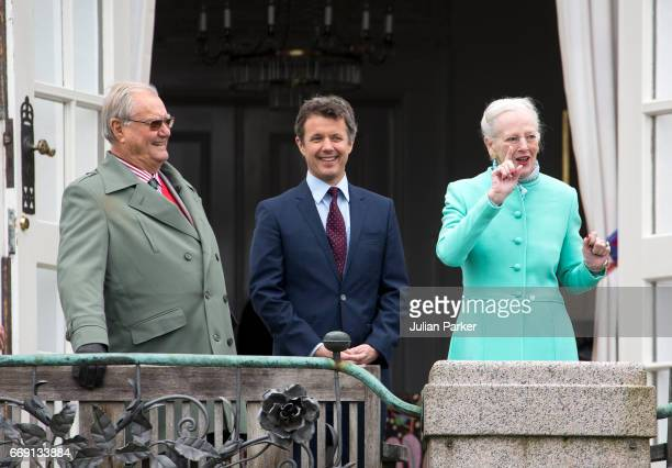 Queen Margrethe of Denmark with Prince Henrik of Denmark and Crown Prince Frederik of Denmark celebrates her 77th Birthday at Marselisborg Palace on...