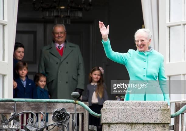 Queen Margrethe of Denmark with Prince Henrik of Denmark and the Queens Grandchildren celebrate Queen Margrethe of Denmark's 77th Birthday at...